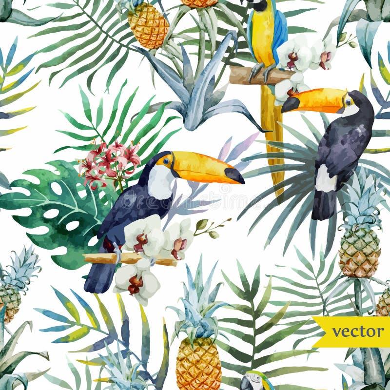 Tropische waterverf, exotische ananas, patroon stock illustratie