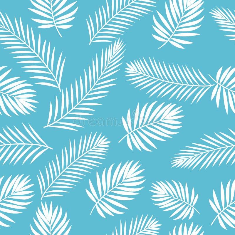 Tropische Weiße Palme Verlässt Nahtloses Muster Nettes Blumen Vektor ...