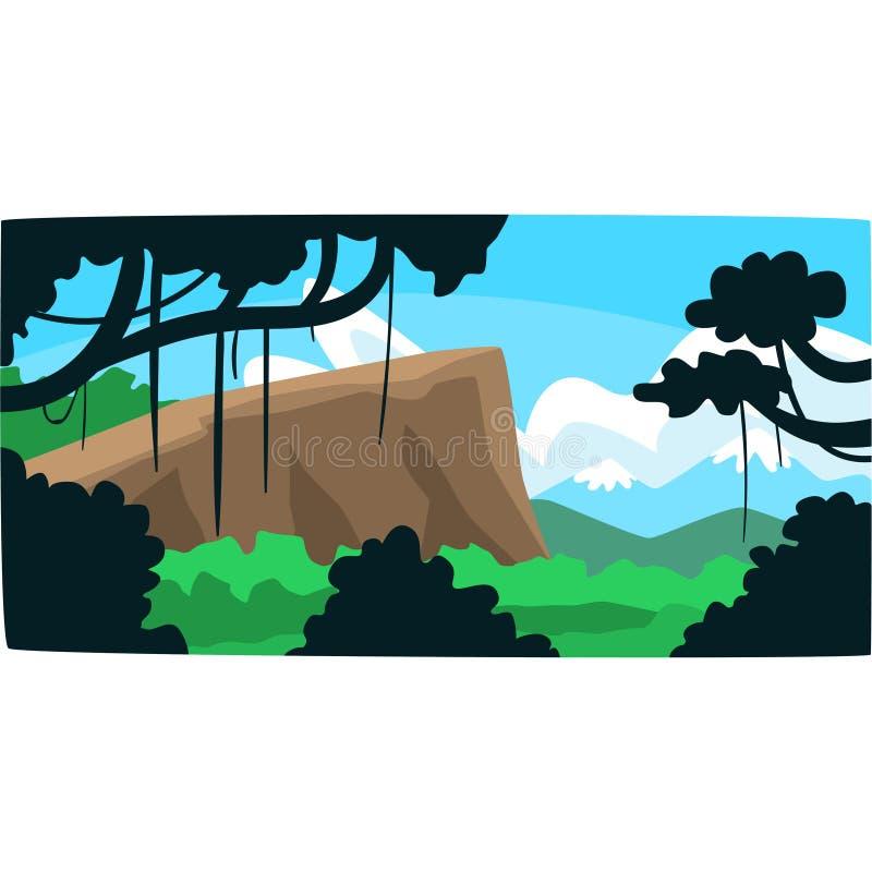 Tropische wildernis, Greenwood-achtergrond met bladeren, struiken en bomen, tropisch regenwoudlandschap in een vector stock illustratie
