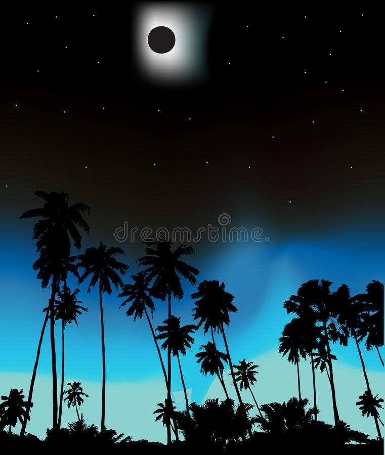 Tropische zonneeclips stock illustratie