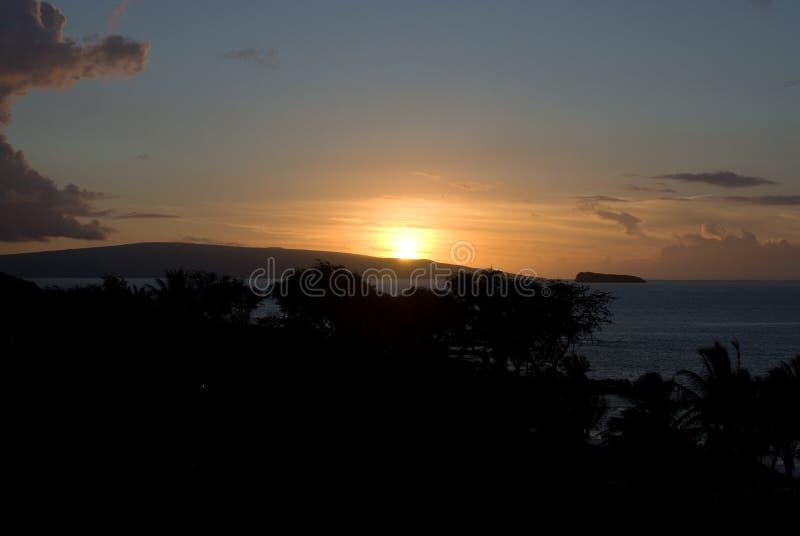 Tropische Zonsondergang over strand in Maui Hawaï stock foto's