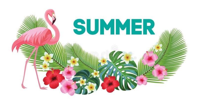 Tropische Zusammensetzung und Flamingo Auch im corel abgehobenen Betrag stock abbildung