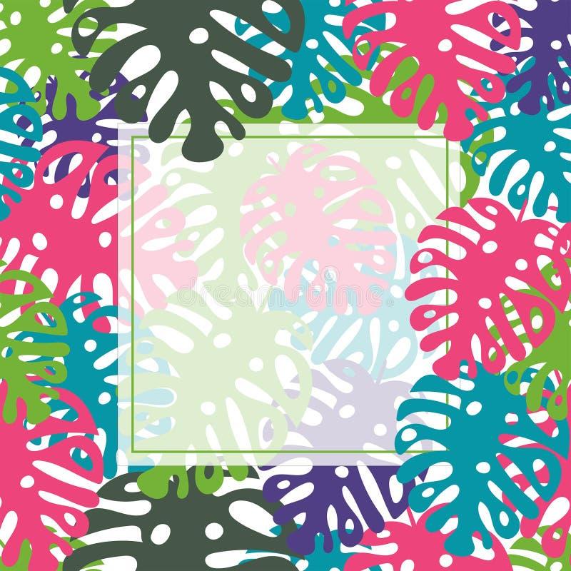 Tropischer Blattrahmen des Vektors Schablone, Druck, Schein oben, Hintergrund Palmen mit dem Meer und dem h?lzernen Brett vektor abbildung
