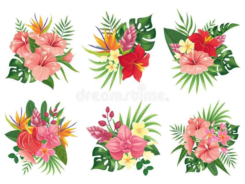 Tropischer Blumenblumenstrauß Exotische Palmblätter, tropische mit Blumenblumensträuße und tropicals Hochzeitseinladungsvektor lizenzfreie abbildung