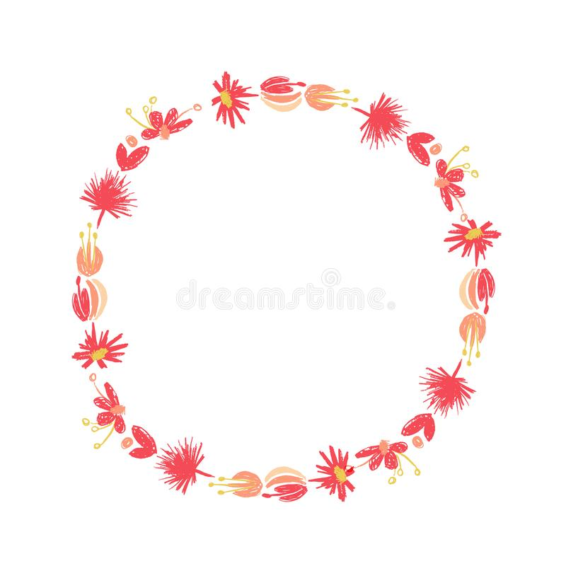 Tropischer Blumenkreiskranz, duotone Art stock abbildung