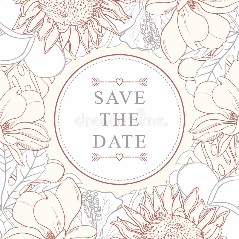 Tropischer Blumenrahmen für die Heiratseinladung lokalisiert auf weißem Hintergrund stock abbildung