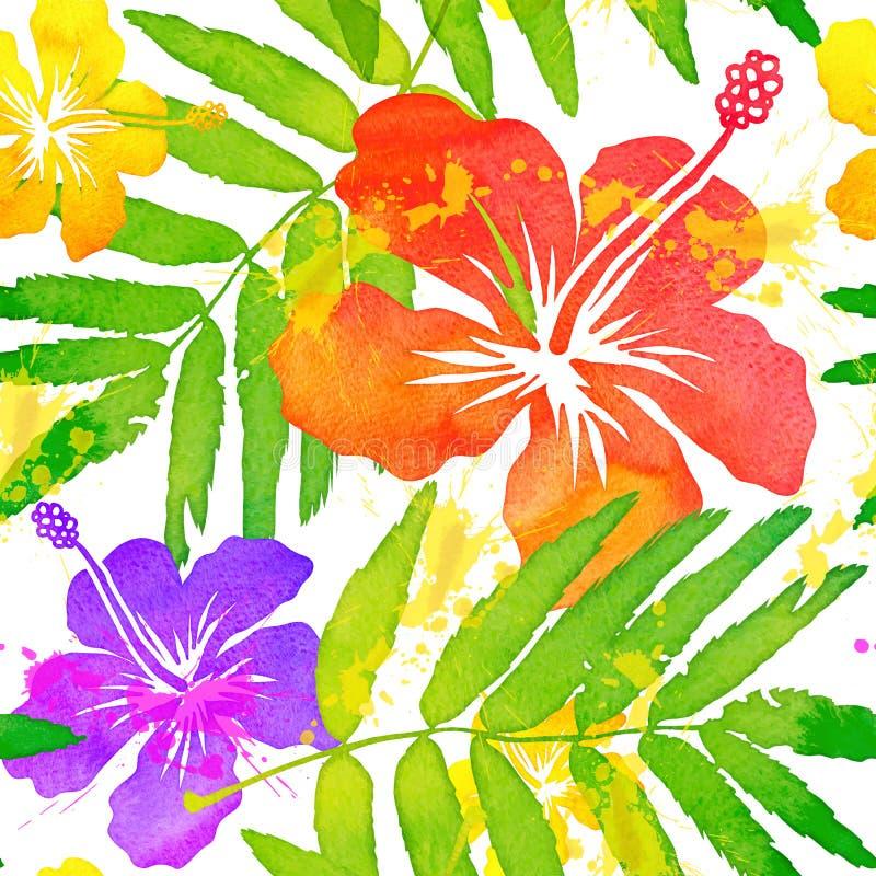 Tropischer Blumenvektor des hellen Aquarells nahtlos stock abbildung