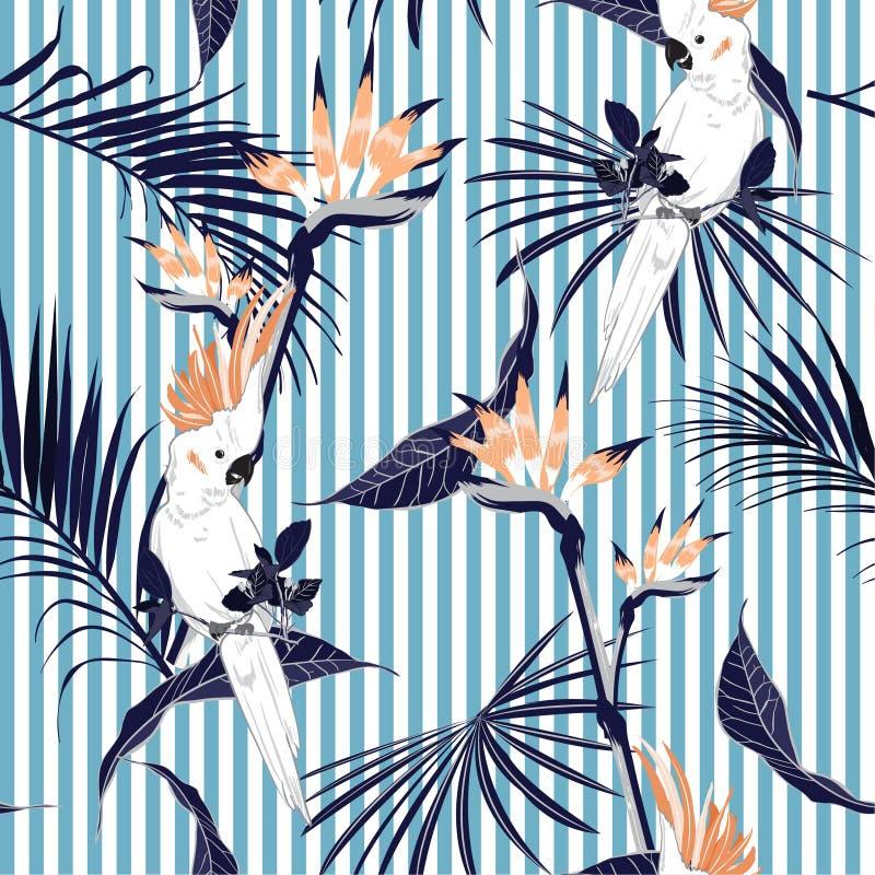 Tropischer Dschungel des Sommers verlässt mit saemless Klaps des weißen Keilschwanzsittichvogels vektor abbildung