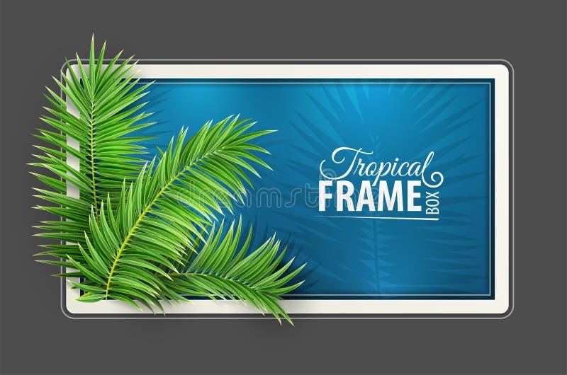 Tropischer Fahnenrahmen Entwurf Gr?ne Palmbl?tter Auch im corel abgehobenen Betrag stock abbildung