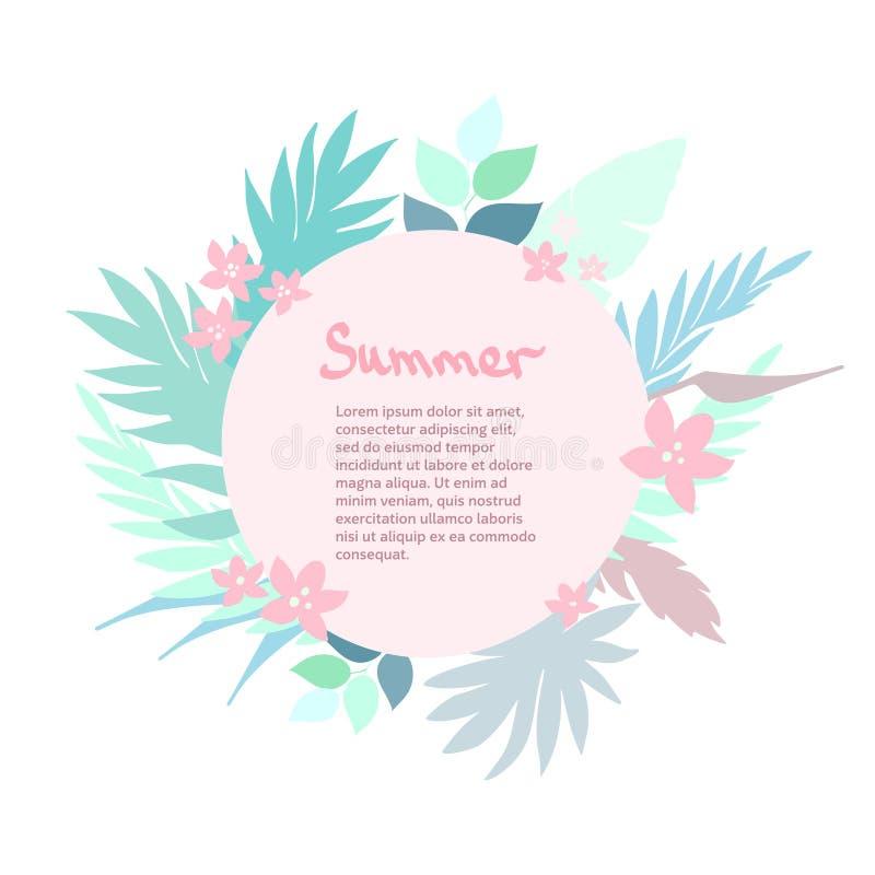 Tropischer Hintergrund des Sommers mit exotischen Palmblättern und Anlagen Ideal für Gebrauch in Ihrer Auslegung vektor abbildung