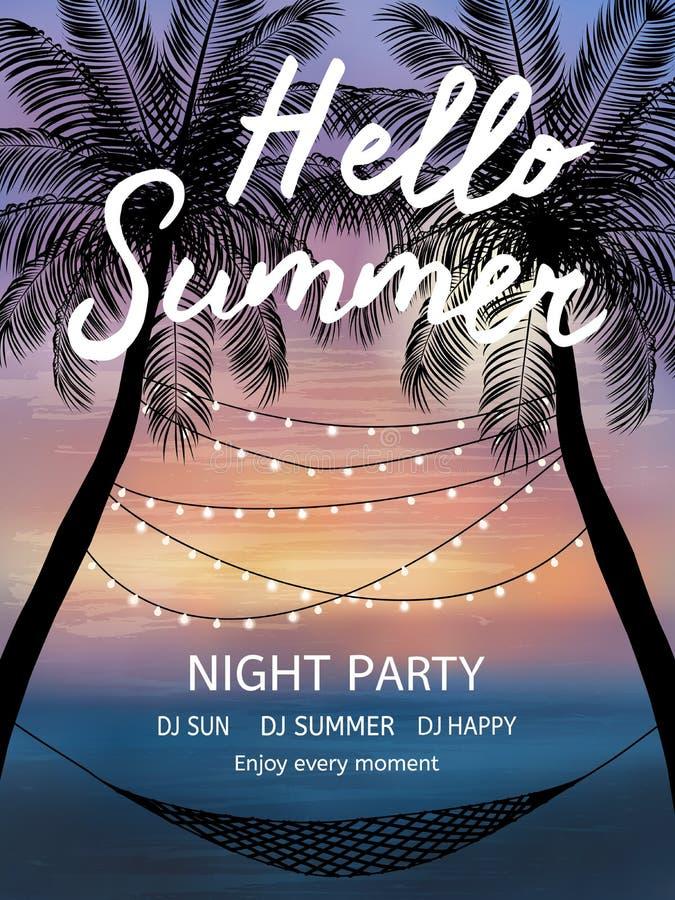 Tropischer Hintergrund des Sommers mit Palmen, Himmel und Sonnenuntergang Sommerplakat, Flieger, Einladungskarte lizenzfreie abbildung