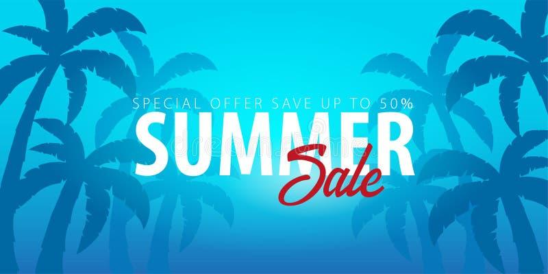 Tropischer Hintergrund des Sommerschlussverkaufs mit Palmen und Sonnenuntergang Sommerplakatplakatflieger-Einladungskarte Junge E vektor abbildung
