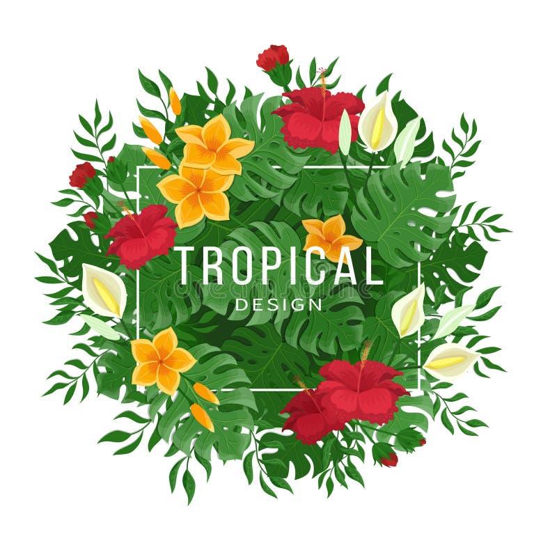 Tropischer Hintergrund mit Blättern und Blumen von monstera und von Palme Blumen und Knospen von Hibiscusen lizenzfreie abbildung