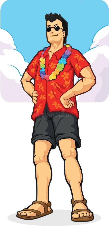 Tropischer Insel-Tourist auf Ferien/Feiertag lizenzfreie abbildung