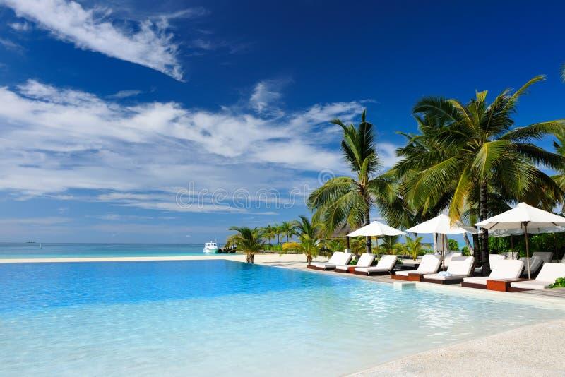 Tropischer Luxusswimmingpool lizenzfreies stockfoto