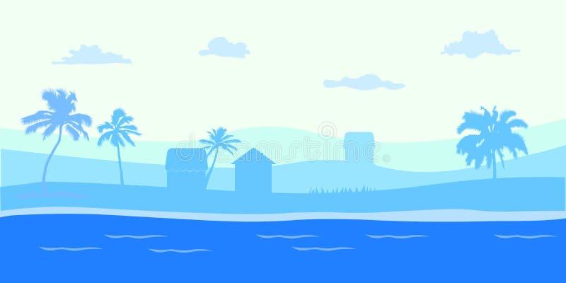 Tropischer Meerblick der Panoramaansicht der blauen Ozean- und KokosnussPalme auf Insel, panoramischem Seestrand und Sand mit Bla lizenzfreie abbildung