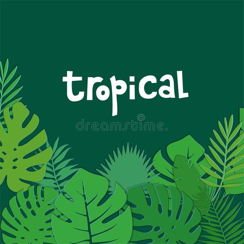 Tropischer Papierschnittgrünhintergrund mit Palmen- und monsterablättern und beschriften Zitat Monstera lässt quadratischen Rahme lizenzfreie abbildung