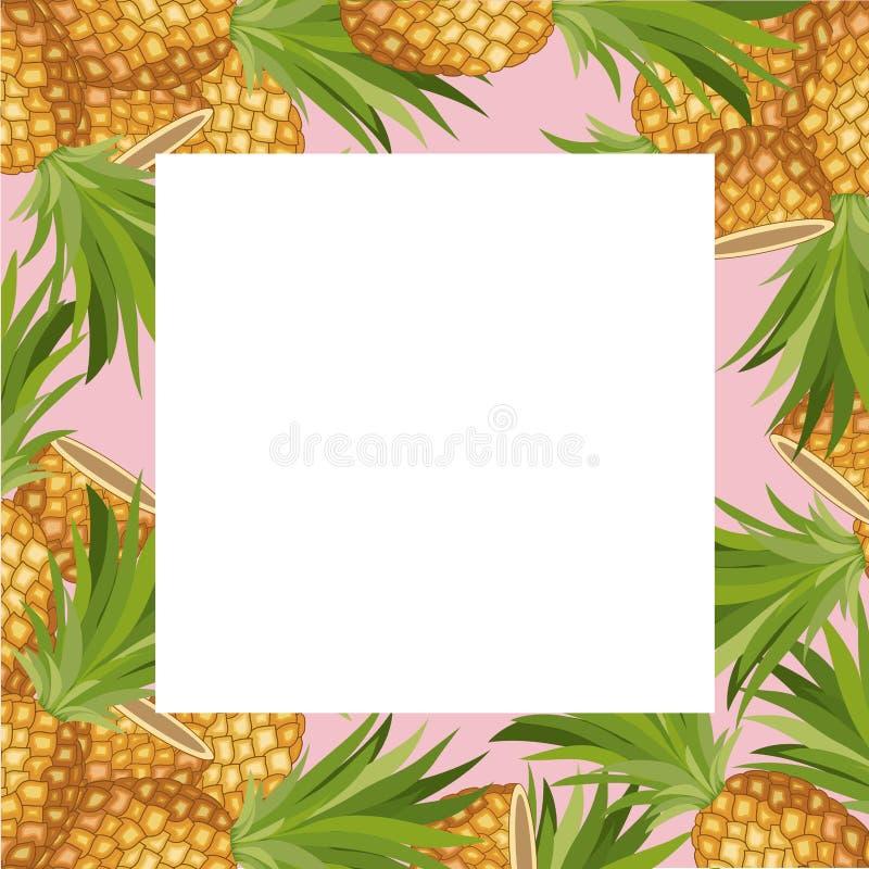 Tropischer Rahmen der frischen Ananasfrucht vektor abbildung