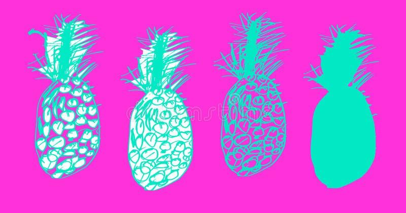 Tropischer Satz Skizzen von Ananas, Ananas in der Gekritzelart vektor abbildung