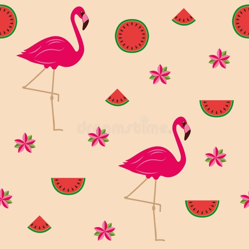 Tropischer Sommerentwurf des nahtlosen Musters mit Flamingoblumen und Wassermelone lizenzfreie abbildung