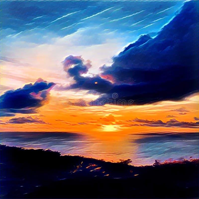 Tropischer Sonnenuntergang über dem Meer und die Wald-Digital-Illustration in der klaren bunten Palette vektor abbildung