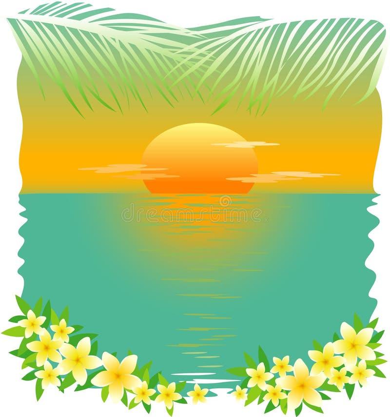 Tropischer Sonnenuntergang lizenzfreie abbildung