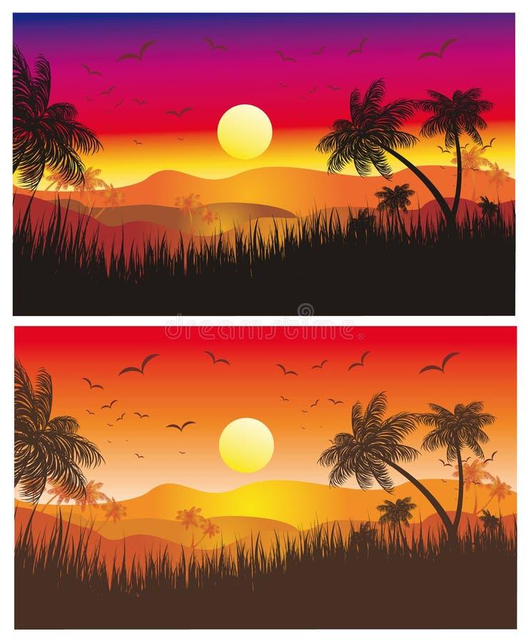 tropischer sonnenuntergang mit palmen vektor abbildung illustration von feiertag sand 9906503. Black Bedroom Furniture Sets. Home Design Ideas