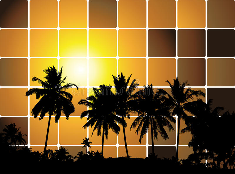 Tropischer Sonnenuntergang, Mosaikhintergrund für Ihre Auslegung stock abbildung