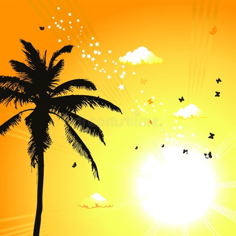 Tropischer Sonnenuntergang, Palmen stock abbildung