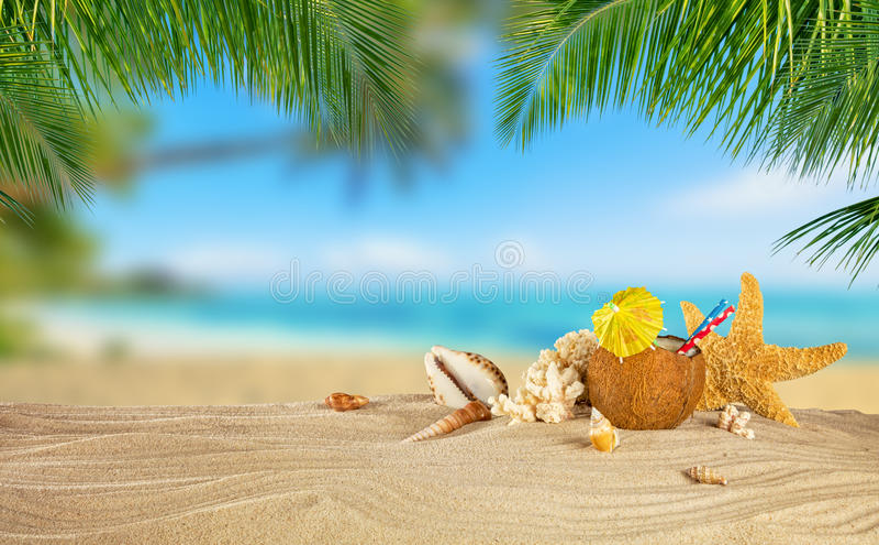 Tropischer Strand mit Kokosnussgetränk auf Sand, Sommerferien backgr lizenzfreies stockbild