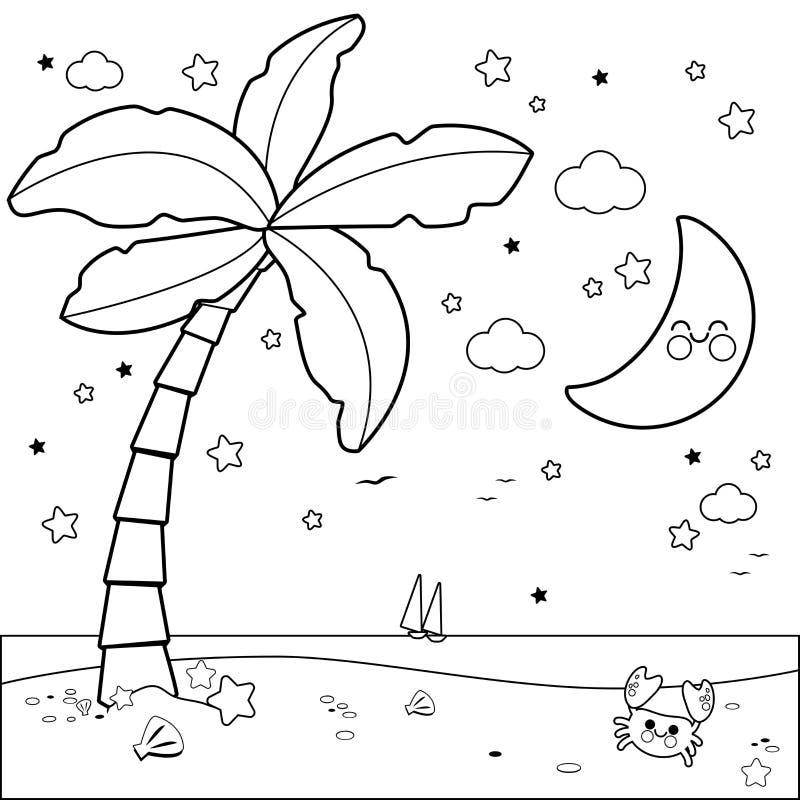 Tropischer Strand mit Palme nachts Schwarzweiss-Malbuchseite stock abbildung