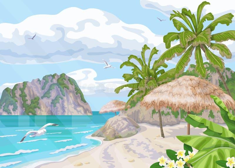 Tropischer Strand mit Sonnenschirm-und Palmen stock abbildung