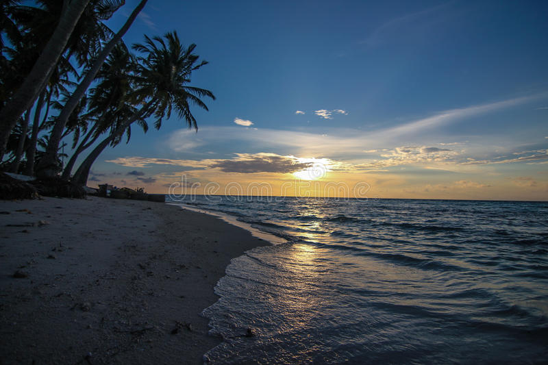 Tropischer Strand Am Sonnenuntergang Stockfotografie