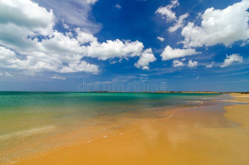 Tropischer Strand und blauer Himmel lizenzfreies stockbild