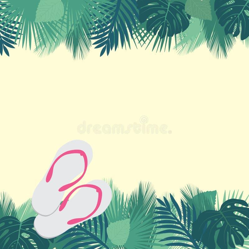 Tropischer Strand und Flipflops stock abbildung