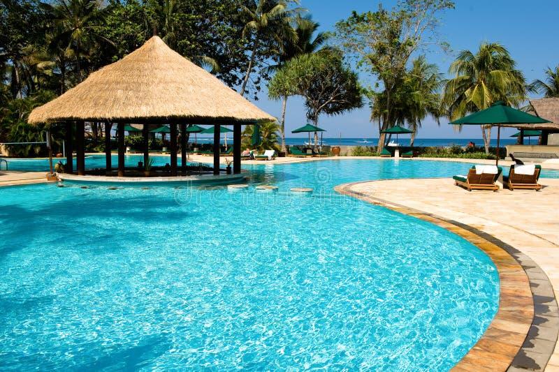 Tropischer Swimmingpool nahe dem Strand stockbild