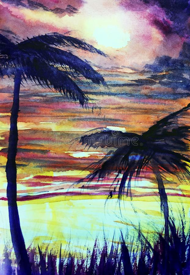 Tropisches Aquarellillustrationspalmen-Sonnenuntergangmeer stock abbildung