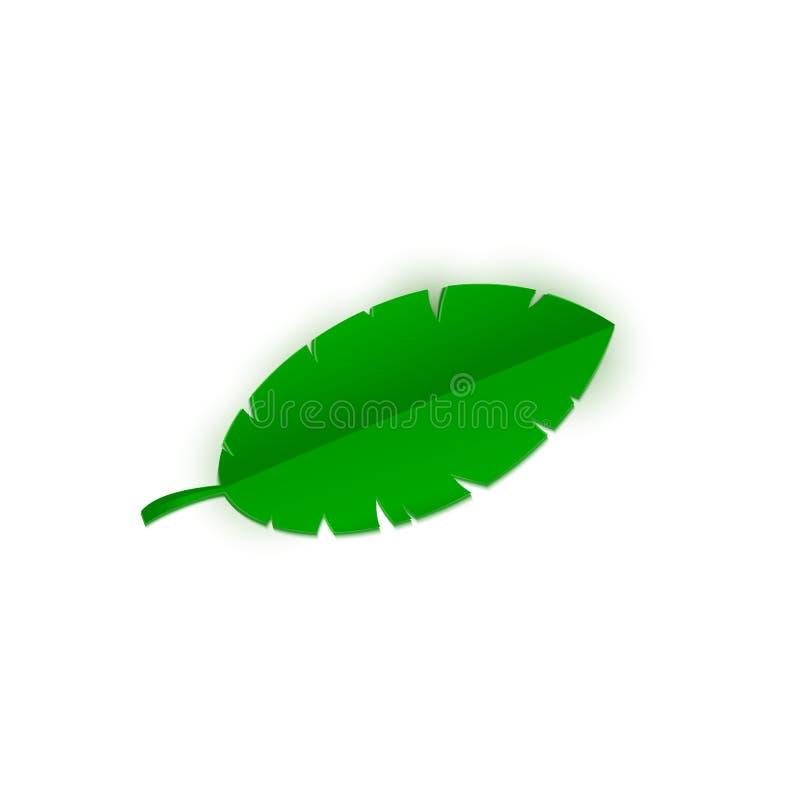 Tropisches Bananenpalmblatt im trandy Papier schnitt Art Machen Sie die Sommerdschungelanlage in handarbeit, die auf weißem Hinte stock abbildung