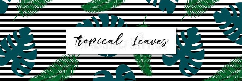 Tropisches Blatmuster Zeile Hintergrund lizenzfreie abbildung