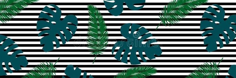 Tropisches Blatmuster Zeile Hintergrund stock abbildung