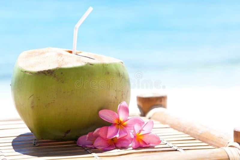 Tropisches frisches Cocktail auf weißem Strand lizenzfreie stockfotos