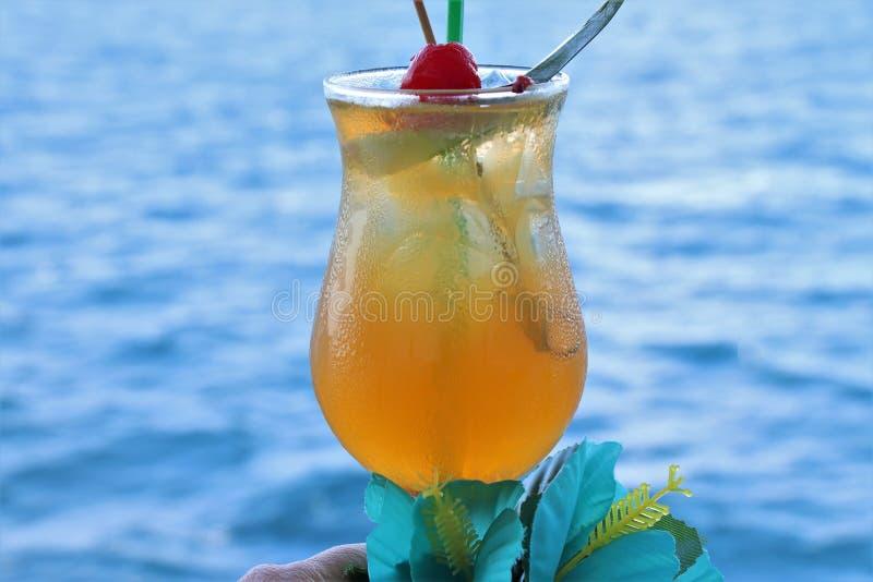 Tropisches Getränk mit Frucht und blauem Ozeanhintergrund stockfoto