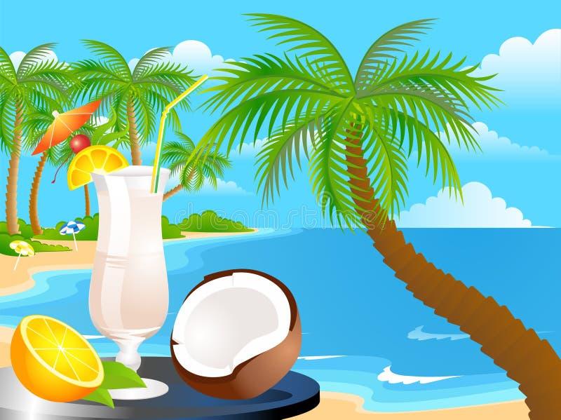 Tropisches Glas eines Cocktails lizenzfreie abbildung