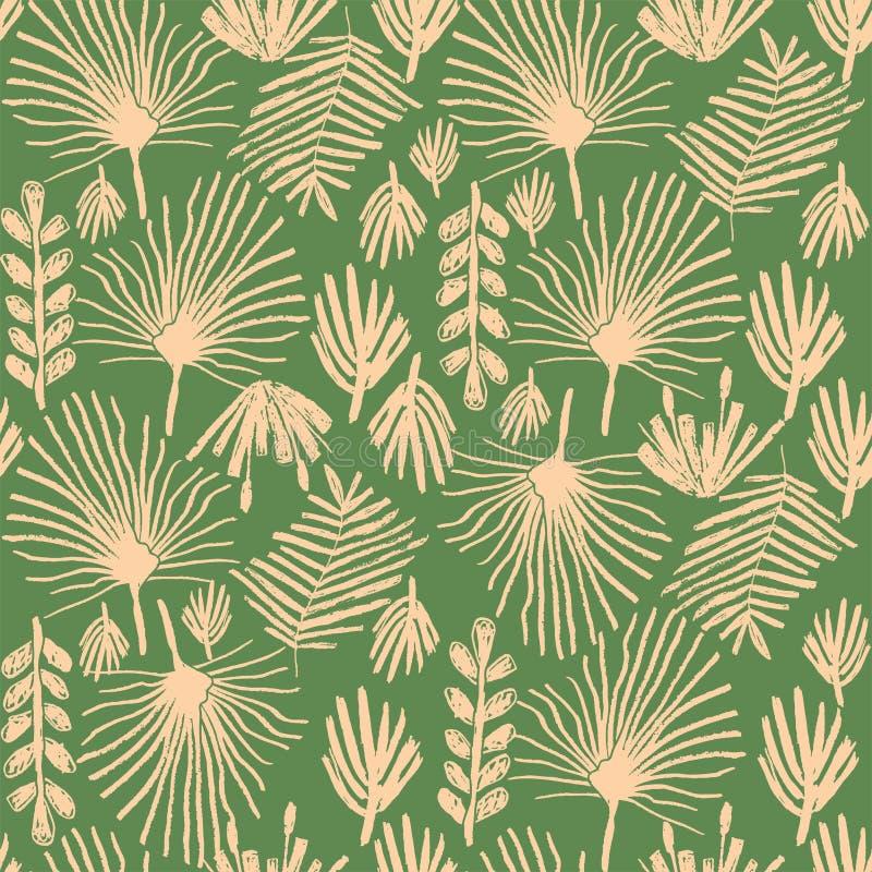 Tropisches Grün blühen, duotone nahtloses Muster stock abbildung