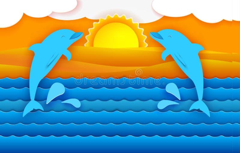 Tropisches Meer und Delphine stock abbildung