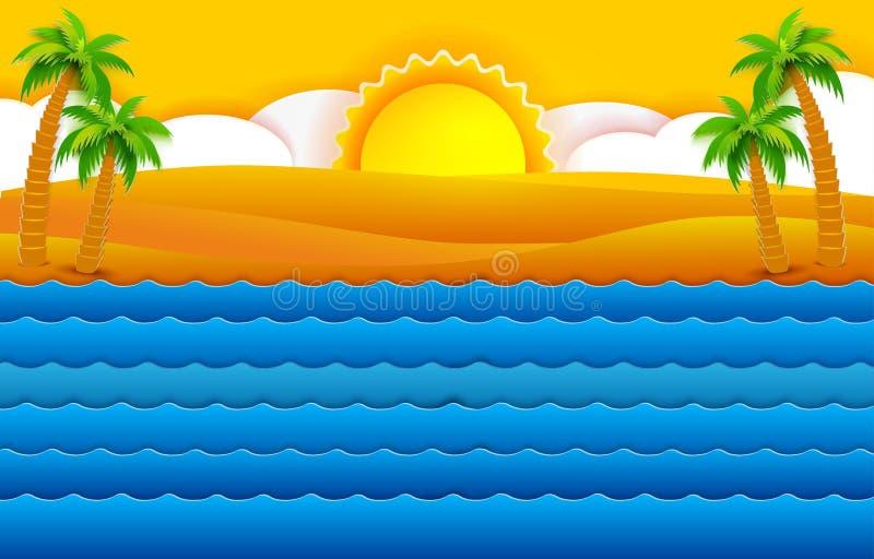 Tropisches Meer und Palmen stock abbildung