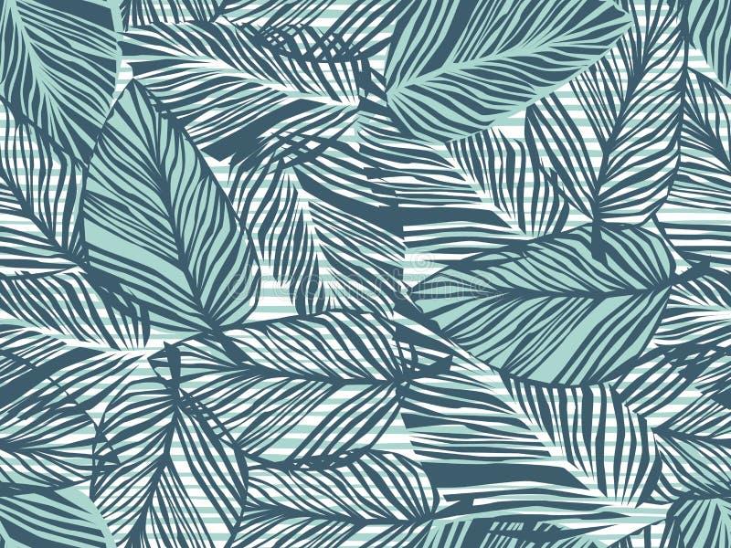 Tropisches Muster, Blumenhintergrund des nahtlosen Vektors der Palmblätter Exotische Anlage auf Streifendruckillustration Sommern vektor abbildung