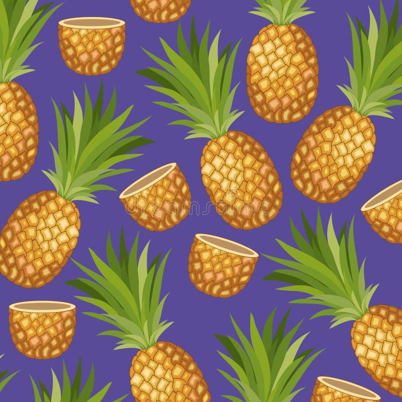 Tropisches Muster der frischen Ananasfrucht vektor abbildung