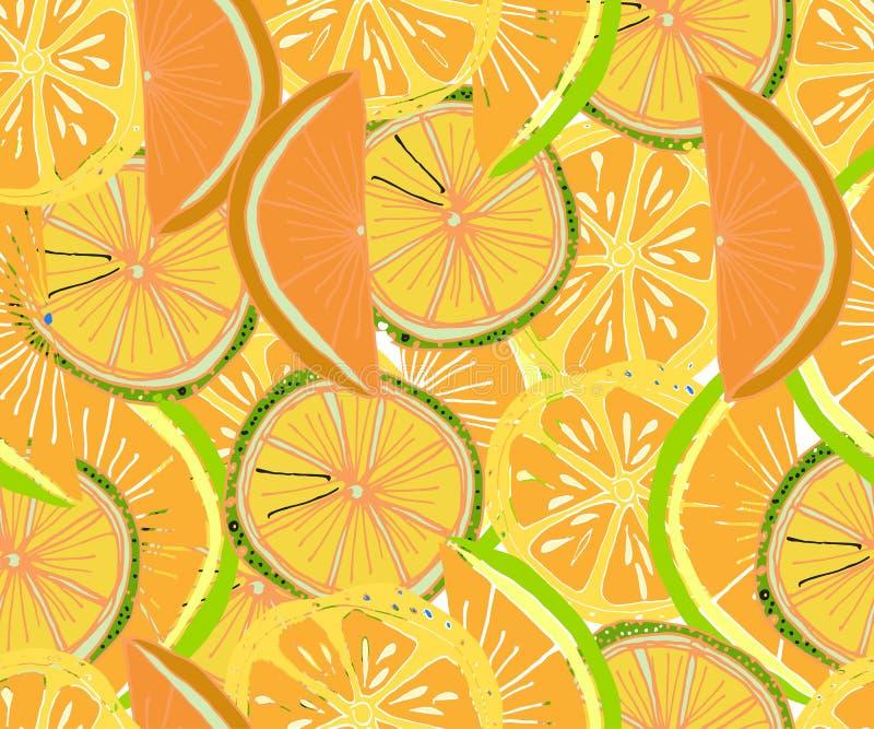 Tropisches Muster des Vektors Frischer reifer Kalk und orange, Palmblätter lizenzfreie abbildung