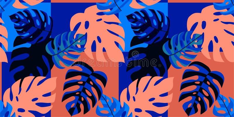 Tropisches Muster des Zusammenfassungssommers mit exotischen Blättern Vektornahtlose Beschaffenheit Modische Illustration vektor abbildung